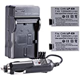 Neewer 2PCS Rechargeable Replacement LP-E8 Li-ion Battery 7.4V 1350mAh + 4 In 1 Battery Charger Kit With US/EU/UK Plug + Car Adapter For Batterfor BG-E8 Battery Grip
