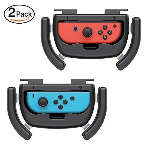 Preisvergleich Produktbild MoKo Hyper Drive Lenkrad für Nintendo Switch,  [2 Stück] Racing Game Kontroller Griff,  Verschleißfest Steuergerät Lenkradform für Nintendo Switch Joy-Con Kontroller - Schwarz