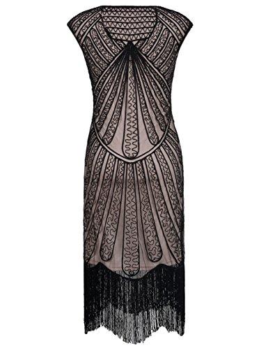 PrettyGuide Damen 1920er CocktailKleid Perlen Art Deco Flapper Charleston Kleid Schwarz Beige