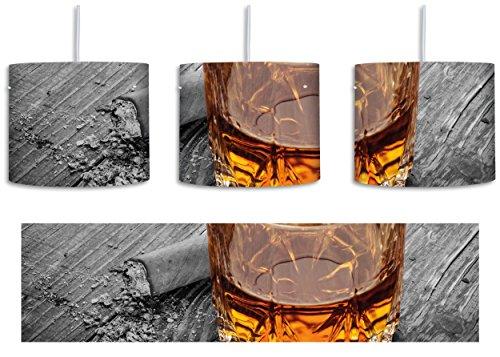 Zigarren hinter Whiskeyglas schwarz/weiß inkl. Lampenfassung E27, Lampe mit Motivdruck, tolle Deckenlampe, Hängelampe, Pendelleuchte - Durchmesser 30cm - Dekoration mit Licht ideal für Wohnzimmer, Kinderzimmer, Schlafzimmer
