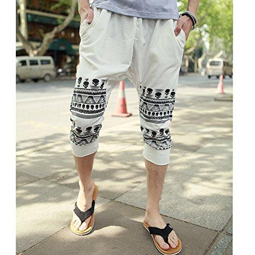 Minetom Homme Casual Star Printing Pantalon de sport Hiphop Baggy Jogging Sarouel Pantalon Beige