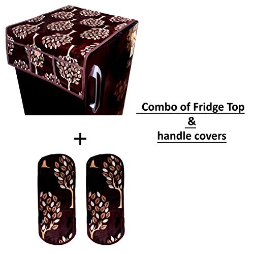 KANUSHI Industries Floral (Tree) Design 1 Fridge Cover for Top with 6 Utility Pockets (Brown Color) + 2 Handles Covers