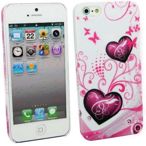 Kit Me Out DE Kunststoff Aufsteckhülle für Apple iPhone SE / 5S - Kreise mit Blumen Violette Herzen