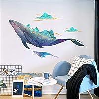 BRILLINT.YY Wall Stickers Modern 3D Cartoon Animals Whale Window Glass Home Decoration Mural Pvc Art Background Pegatinas 68X144Cm