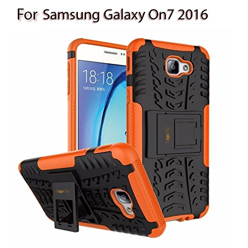 Heartly Tough Shock Proof Rugged Armor Back Case For Samsung Galaxy On7 (2016) / Samsung Galaxy J7 Prime Sm-G610F / Samsung Galaxy On Nxt - Mobile Orange