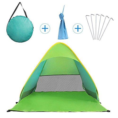 NAVESTAR Pop up Strandzelt Strandmuschel mit UV Schutz 50+, Tragbares Strand Zelt in Blau, Rosa, Grün, Geeignet für Familie, Kinder, Strand, Wiese, Garteb, 160X127X115 cm Outdoor Beach Tent (Grün)