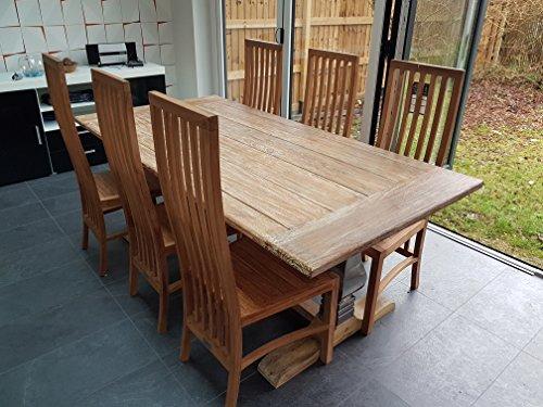 Teak Esstisch Stühle (Esstisch mit Hohe Rückenlehne Stühle aus Teak Holz)