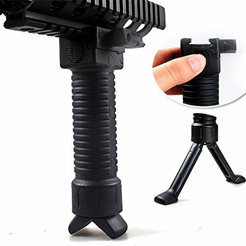 WorldShopping4U Taktische Schießen Griff Airsoft Paintball-Weber Easy Button Bipod Fore Grip fit 20mm RIS Schiene Black Color