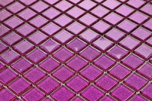 Vetro mosaico piastrelle opaca in lilla con strass costume per