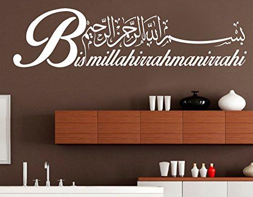 Wandtattoo Bismillahirrahmanirrahim Arabische und deutsche Kalligraphie Koran Schrift Islamische Dekoration Wandtattoos Wandaufkleber Bismillah Besmele Türkisch Islam Allah Muslim (40 x 10 cm, Weiß)