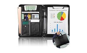 NEWYES Portfolio, Multifonctionnel Dossier de Conférence A4 en cuir PU avec fermeture à glissière Support Téléphone Tablette Compartiment, Pochettes de Documents, noir