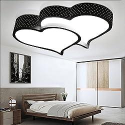 BRIGHTLLT Los niños LED Luz Lámpara de techo cálido estudio romántico dormitorio matrimonio habitación rosa dos corazones lámparas de hierro y mando a distancia 520*420mm
