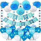 Décoration Anniversaire Garcon Deco, bannière Joyeux anniversaire avec 10 ballons bleus, 10 ballons blancs, 10 ballons bleu clair, 9 pompons bleu et 1 drapeau pentagramme pour 1 2 3 5 6 7 9 10 ans