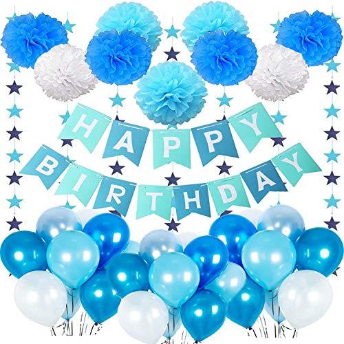 Junge 1 Jahr, Junge Geburtstag Deko Ballon mit Happy Birthday Girlande Blau,Wimpelgirlande, Luftballons Blau und Pompoms für Baby 1 2 3 5 10 Jahr Kindergeburtstag Deko Dekoration ()