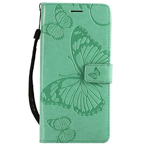 Gray Plaid Coque Huawei Honor 7C,Haute Qualité en Relief Papillon PU Portefeuille en Cuir Stand Flip Protection Case Cover avec Porte-Cartes pour Huawei Honor 7C - Vert