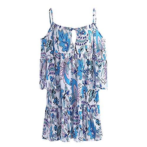 QHGstore Frauen-reizvolles weg vom Schulter-backless kurzes Kleid-Blumendruck-Pullover-Minikleid Eine Farbe