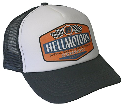 HELLMOTORS Trucker Cap 69 grau Weiss Hot Rod US Car Rockabilly Old School V8 Hut -