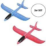 Flanacom 2er Set Styroporflieger groß Flugzeug 43cm Segelflugzeug zum Werfen - Flieger Modell Wurf Glider Set Spielzeug Wurfgleitflieger