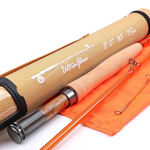 Maxcatch Fiberglas Fliegenruten 8'0'' 5wt/ 7'0'' 3wt 3-teilig (Blau/Orange/Grün) (Orange, 8'0'' 5wt)