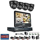 [1280*720P HD] SANNCE® Kit de 4 Cámaras de Vigilancia Seguridad (Onvif H.264 CCTV DVR P2P 4CH AHD 720P y 4 Cámaras 720P 1MP IP66 Impermeable, IR-Cut, Visión Nocturna Hasta 20M, Exterior y Interior, HDMI, 24 LEDs Seguridad Kit) - NO Disco Duro (4+4(NO HDD ))