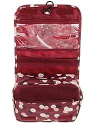 Sac Trousse de Toilette Rangement Organisateur à Suspendre Etanche Portable Rouge Vineux