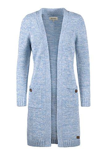 DESIRES Philetta Damen Lange Strickjacke Grobstrick Cardigan Longstrickjacke Aus 100% Baumwolle, Größe:M, Farbe:Sky Blu M. (1025M)