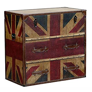 Vintage Union Jack flag industrial style wooden trunk chest with lid and drawers