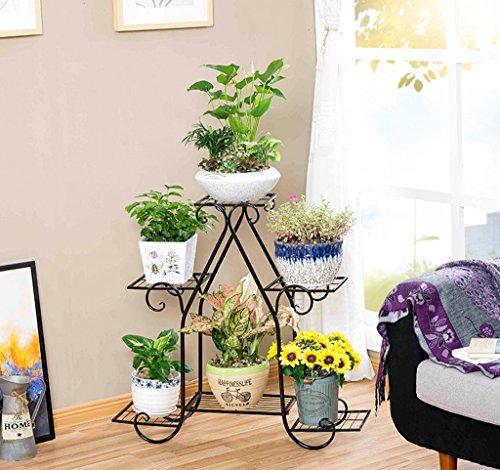 Gfl Indoor Blumentopf-Rack Sechs-Tier-Blumen-Racks Metall-StänderBalkon-Boden Blumentöpfe Shel fmulti-Farbe Optional (Farbe : Bronze, größe : 58*49*17CM) 6-tier-bücherregal