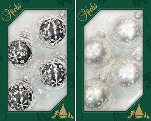 Krebs Glas Lauscha - 8 frostige weiß-silberne Christbaumkugeln mit Schneeflockendekoration - 7 cm - 4 Stück