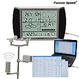 Forever Speed Profi AKKU Funk Wetterstation WH1080 Windgeschwindigkeit, Niederschlag, Windrichtung, Funkwetterstation, USB Software Touchscreen, AKKU/Funk Wetterstation