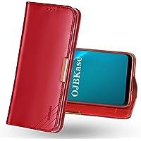 OJBKase Funda Galaxy S9 Plus, Carcasa Piel de Cuero Genuino con Tapa [Tarjetas de