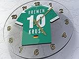 Wanduhr mit Deko der Deutscher Fußball-Bundesliga– jedes Team – personalisierbar SV WERDER BREMEN