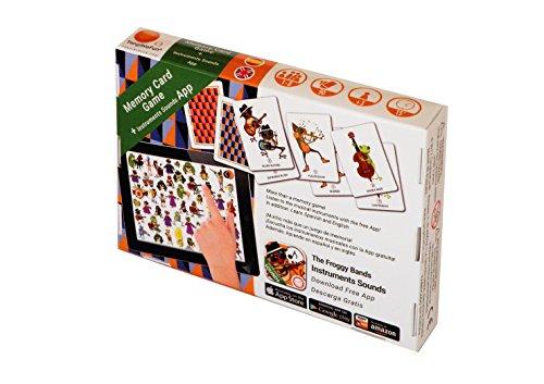TangibleFun   The Froggy Bands Memory Card Game, Juego de Mesa Educativo con App para iPad, Tablet y Smartphones de Sonidos Instrumentos Musicales, 90 Cartas Infantiles para Niños