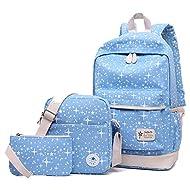 Voyage Camping Loisirs Sac a dos College Fille Scolaire Toile Ecole Ado Fille Femmes a à Dos + Sac à Bandoulière + Sac à Stylo(3 PCS ) Bleu ciel