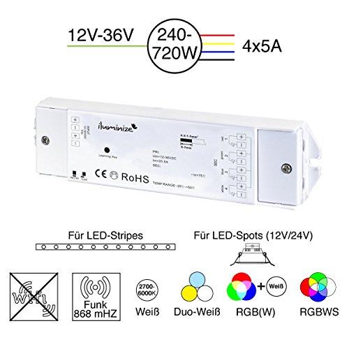 Jetzt neu: flimmerfrei durch 750Hz, hochwertiger und langlebiger LED Funk-Controller 4x5A RGBW / RGB / Duoweiß / weiß, 12V-36V, zum Dimmen / Steuern von LED-Stripes und LED-Lampen mit Konstantspannung (Bridge-treiber)