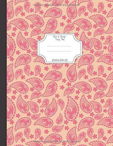 Cahier de Musique Paisley Rose: 12 Portées par Papelinho Paper Art