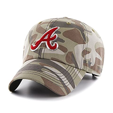 MLB Atlanta Braves Women's Sparkle Camo Clean Up Hat, Women's, Faded Camo