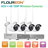 FLOUREON Wireless CCTV Security House Camera System 4CH NVR Kits 1080P + 4 Pack 720P 1.0MP HD Wireless IP Network Wifi Camera Night Vision Remote Access Motion Detection (4CH+ 4X 720P Camera)