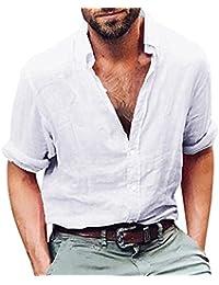 ALIKEEY Camisas Lino Tradicionales para Hombres Manga Corta con Cuello Casual Blusa Suelta Camisetas Sueltas Cool