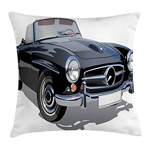 VICKKY Cars Throw Pillow Cushion Cover, Classical Retro Vehicle Antique Convertible Prestige Old Fashion Revival, Decorative Square Accent Pillow Case, 18 X 18 inches, Black Pale Grey White - Prestige Hipster