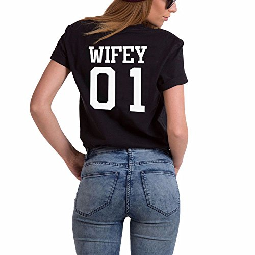 Couple Shirt Pärchen T-shirt für zwei Set Schwarz Weiß Paar Kurzarm Frau und Mann Hubby Wifey Oberteil Geschenk JWBBU® Hubby-Schwarz+Wifey-Schwarz