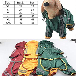 Hemore Pet Dog Raincoat Cat Dog Waterproof Jacket Hood Rain Coat Reflective Night Safety Jumpsuit Apparel for Small Medium DogsYellow M 1PC Pet Supplies