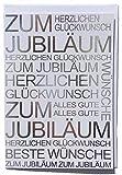 Jubiläumskarte Schrift silber weiß