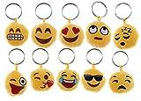 takestop Set 12 Pezzi BOMBONIERA BOMBONIERE Peluche tonde Smile faccine Emoji Emoticon Portachiavi Porta Chiavi Chiave Compleanno 18 Anni Comunione