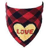 KIUBufanda aCuadros paraPerros InviernoPañuelos paraMascotas Día de San Valentín Pareja Baberos para Perros Bufanda Pajaritas Collar Aseo para Mascotas, corazón Dorado