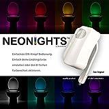 NEONiGHTS (Mod. 2017) automatisches 8 fach - Farb LED Nachtlicht für Bidet, WC, Bad, Dusch WC, Toilette, Badezimmer Taharet. Ausschließlich nachtaktiver Bewegungssensor