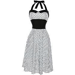 Lenfesh Mujer Vintage Vestido Pin Up de Lunares Punto Sin Mangas Halter Rockabilly Dress Para Fiesta (M, Blanco)