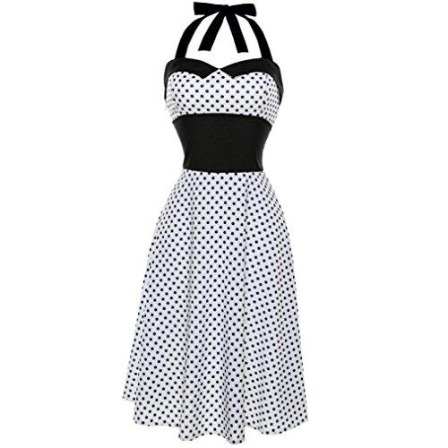 Lenfesh Mujer Vintage Vestido Pin Up de Lunares Punto Sin Mangas Halter Rockabilly Dress para Fiesta (XL, Blanco)