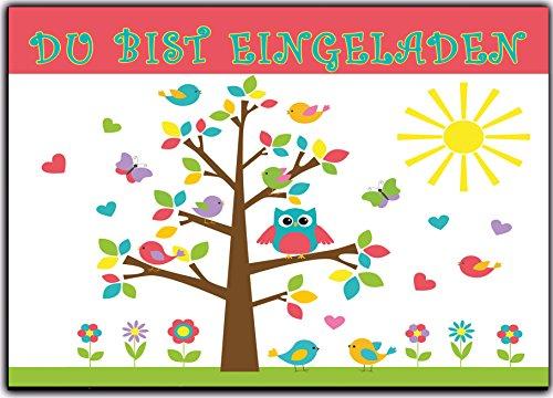 rtstag Einladung Geburtstag Eule Vögel Kinder Einladungskarten Eule Jungen Mädchen 12 Stück Baum lustig witzig ausgefallen originell ()