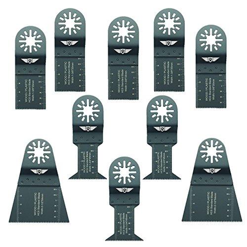 10 x TopsTools UNKA10F Mix cuchillas para Bosch Fein (No-StarLock) Makita Milwaukee Einhell Ergotools Hitachi Parkside Ryobi multiherramienta Worx, WorkZone Multi herramienta accesorios